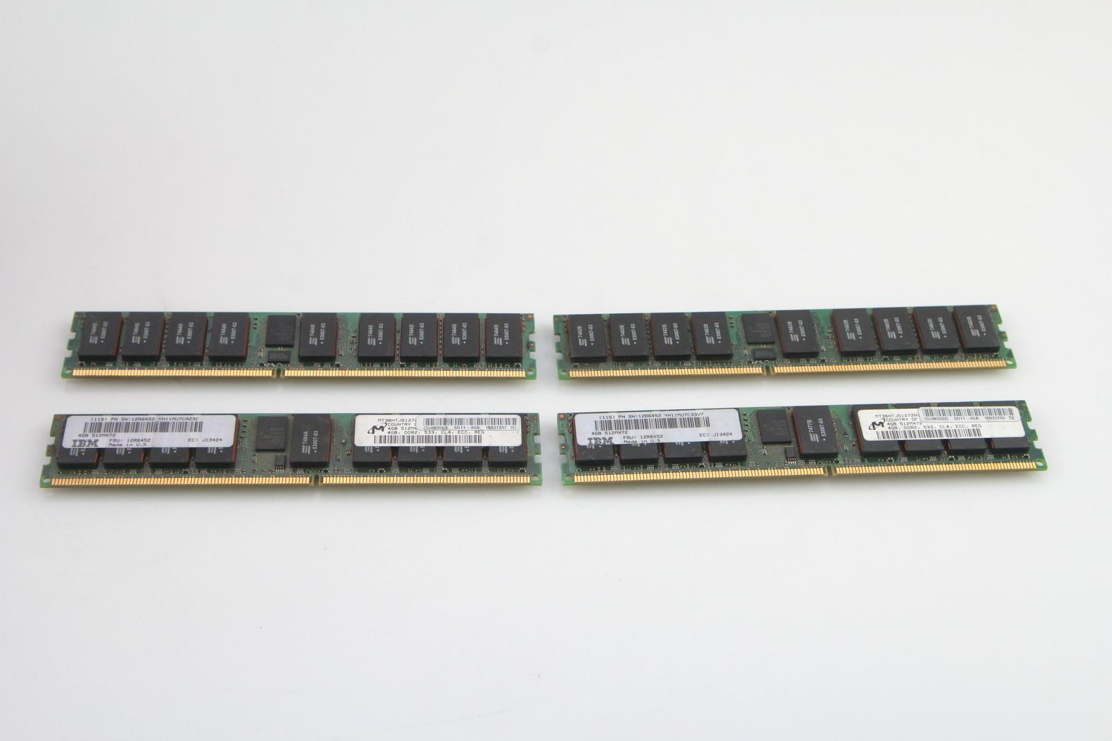 Genuine IBM Micron 12R6452 4GB DDR2 533 MHz CL4 ECC REG PC-4200 512MX72 Memory